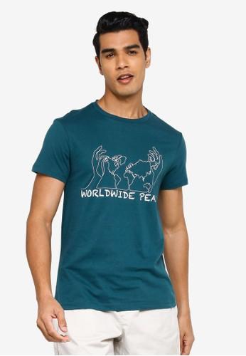 KOTON blue Peace T-Shirt C4481AA41FBEC4GS_1