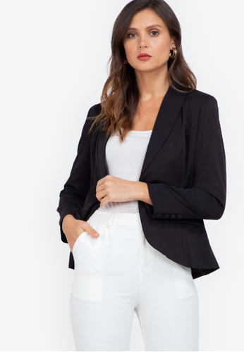 ZALORA WORK black Long Blazer With Buttons 0699FAAC8E80BEGS_1