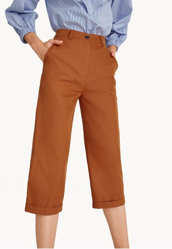 Pomelo orange Cropped Culotte Tailored Pants - Orange C436EAABF2EC3AGS_1