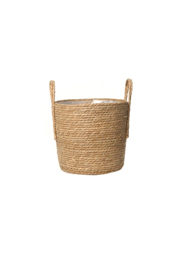 Propstation Braided Natural Hand-Woven Seagrass Wicker Basket with Handle - 25cm 328E4HLC3C553BGS_1