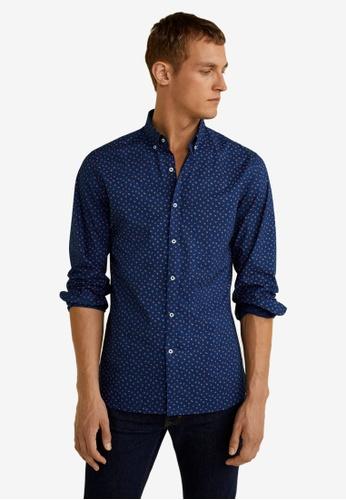 Mango Man 藍色 Slim Fit Printed Cotton Shirt 89182AAEC87C45GS_1
