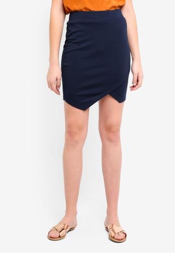 ICHI navy Kate Wrap Skirt 1E7A1AA612191CGS_1
