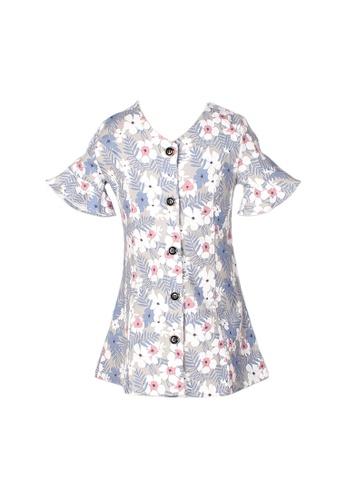 Mini Moley grey Floral Print Girl's Button Down Dress 0B516KAF4F0CC2GS_1