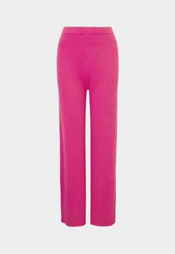 Pomelo purple High Waist Ribbed Pants - Magenta 4D8CEAA8F66BA8GS_1