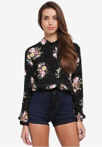 Miss Selfridge black Floral Print Shirt 06F3EAA3346F4AGS_1