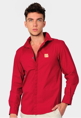 SJO & SIMPAPLY red SIMPAPLY's Costrow Embro Red Men's Shirt SJ108AA80CDNID_1