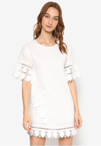 蕾絲下擺拼接直筒連身裙, 服飾,esprit台北門市 洋裝