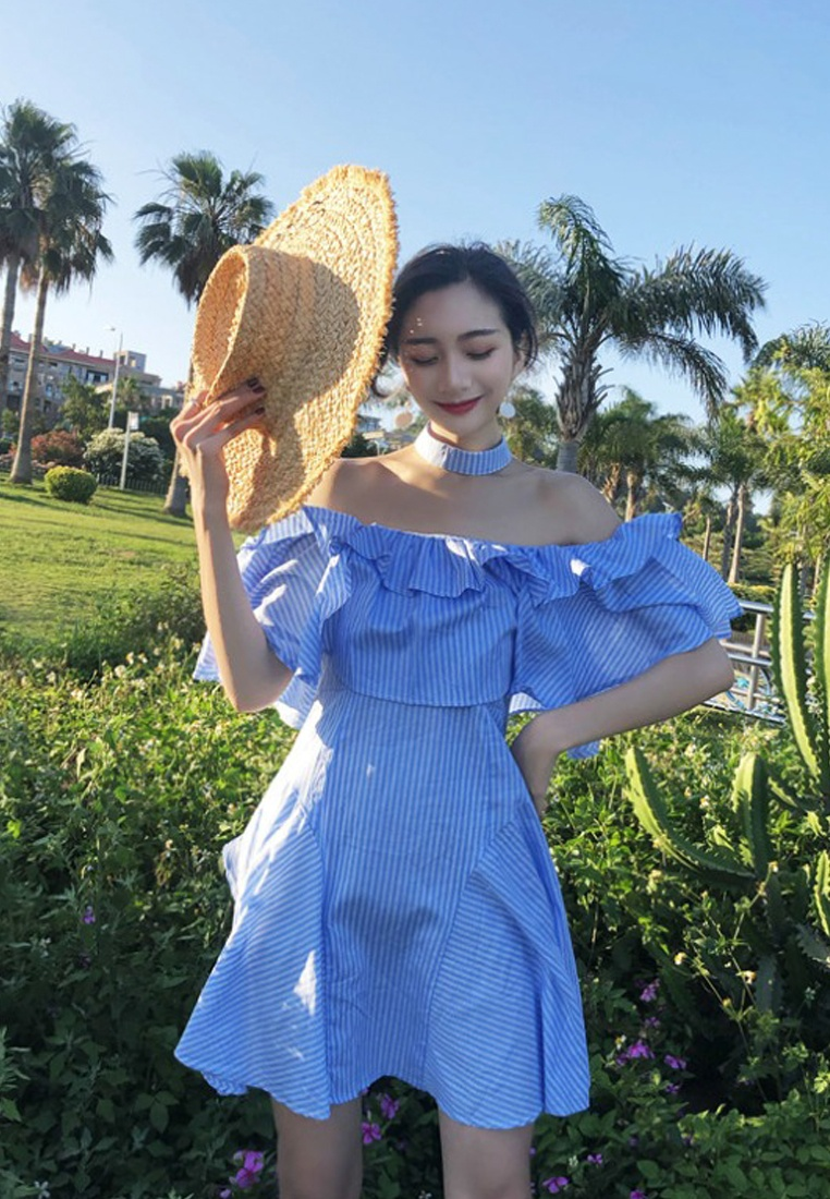Pattern CA062905BL Piece Dress 2018 Off Striped New Sunnydaysweety One Shoulder Blue Blue qwzwURZnt
