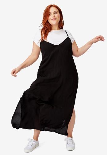 Cotton On black Curve Woven Veronica V Neck Slip Dress 0D888AAFA409A7GS_1