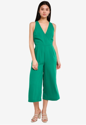 WAREHOUSE green V Neck Jumpsuit CA1CEAA5D42BE8GS_1