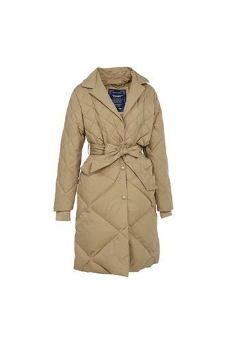 Universal Traveller brown Universal Traveller Trendy Coat Style Down Jacket With Detachable BIB With Hood BC136AA673DB66GS_1