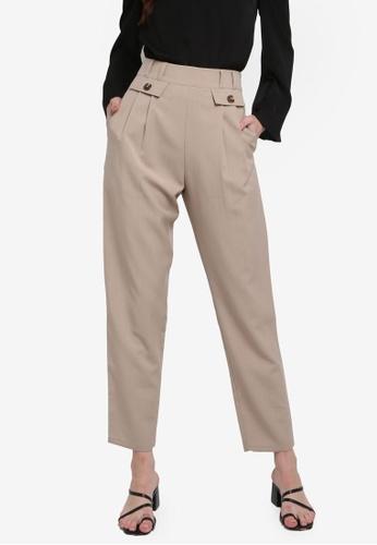 ZALORA WORK 米褐色 High Waisted Pleated Tailored Pants C9490AA23BF69DGS_1