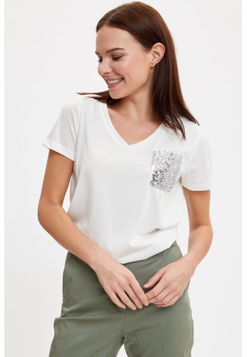 DeFacto beige Woman Knitted Short Sleeve T-Shirt B84A9AA4F8C7FBGS_1