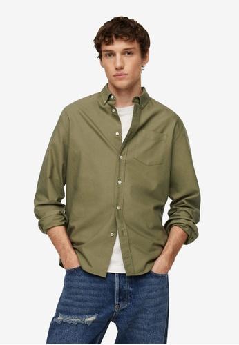 MANGO Man green Oxford Cotton Shirt 4BE05AA22ADCF1GS_1