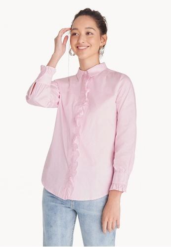 Buy Pomelo Ruffled Button Up Shirt - Pink Online on ZALORA Singapore acbfd12b3