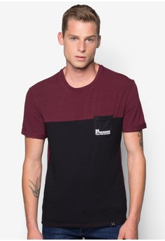 2 Tone Crew Neck T-shirt with Pocket Details