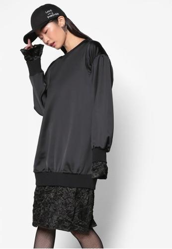 韓系時尚假兩件亮質連身裙,esprit tst 服飾, 洋裝