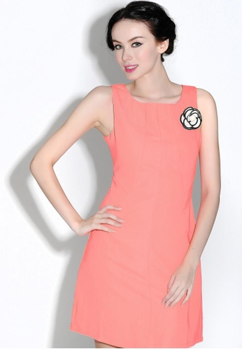 Buy Missy Stella Sleeveless Keyhole Shift Dress In Orange Online On