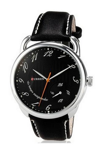 curren black Curren 8147 Men's Leather (Watch Black) CU537AC85RRUMY_1