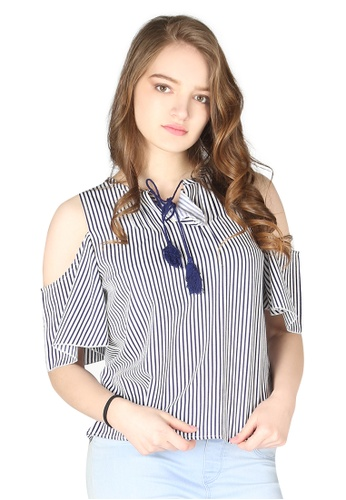 London Rag navy Navy And Ivory Stripe Cold Shoulder Top 62549AA9157D61GS_1
