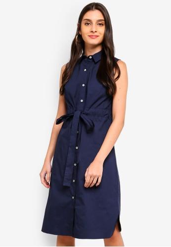 ZALORA navy Sleeveless Midi Shirt Dress BB152AA6026FEAGS_1