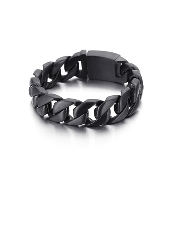 Glamorousky silver Simple Personality Plated Black Hollow Geometric 316L Stainless Steel Wide Version Bracelet 7257CAC94ECED7GS_1