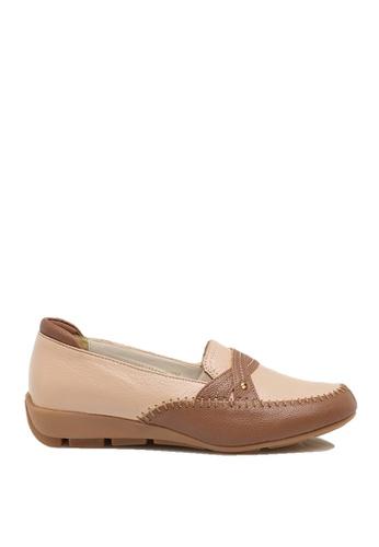 messe 米褐色 撞色手縫柔軟真小羊皮舒適釋壓樂福鞋 ME601SH09Q4XTW_1