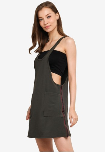 UniqTee brown Long Tank Top with Pockets D7F7BAAED460A5GS_1