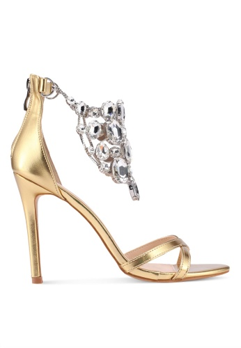 Public Desire gold Valentine Jewel Detail Barely There Heels 3428FSHF446345GS_1