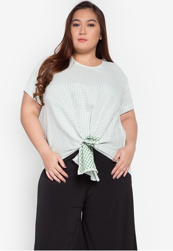 Maldita X green Kylie Plus Size Checkered Knotted Blouse MA587AA0KOXOPH_1
