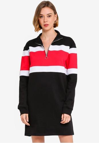 1df5c4e5d94 Buy MISSGUIDED High Neck Colour Block Zip Sweater Dress Online on ZALORA  Singapore