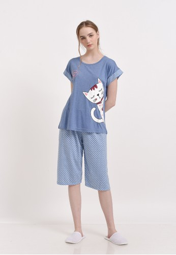 XAYANA Pyjama Set Cat Need Sleep Blue A7B4EAA629021AGS_1
