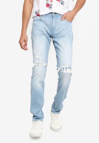 Hollister blue Skinny Patch Repair Jeans DA7F5AAAF32F1EGS_1