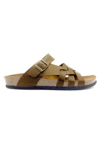 SoleSimple 褐色 Istanbul - 駱駝色 百搭/搭帶 全皮軟木涼鞋 002BESHB3F8A94GS_1
