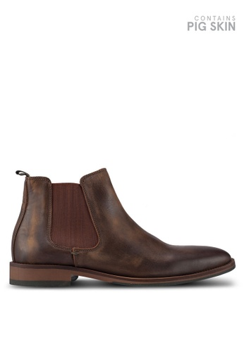 Dune London brown Conor Distressed Chelsea Boots 4D55BSHFEA4F0BGS_1