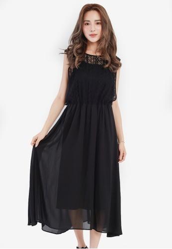 YOCO black Laced Cut-Out Midi Dress YO696AA0SAI3MY_1