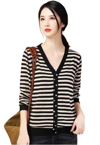 A-IN GIRLS black and beige Color Button Striped Knitted Jacket 7E59DAA6410C81GS_1
