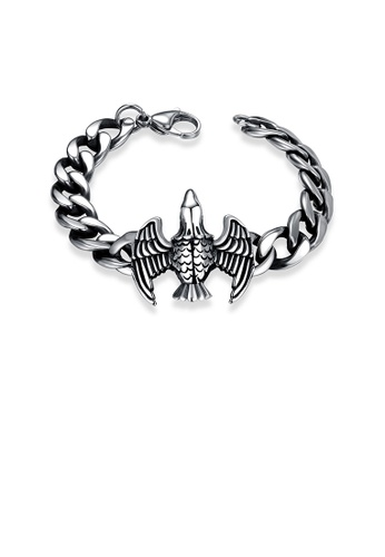 Glamorousky silver Fashion Ancient Mayan Eagle 316L Stainless Steel Bracelet E7F18AC1660232GS_1