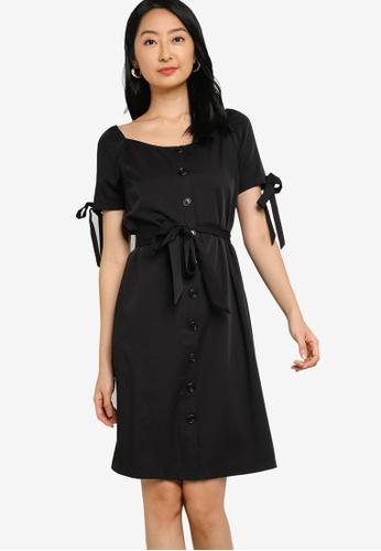 ZALORA BASICS 黑色 Square Neck Dress with Tie Detail 49AE4AA63849E4GS_1