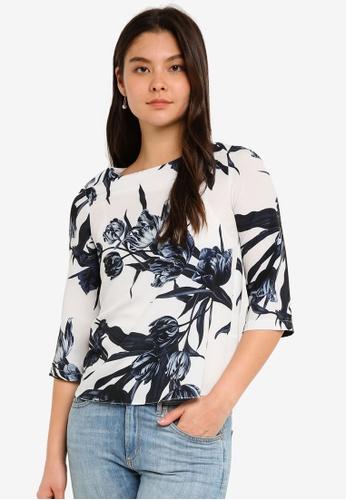 Dorothy Perkins navy Navy Floral 3/4 Sleeve Top 21238AA5792D5BGS_1