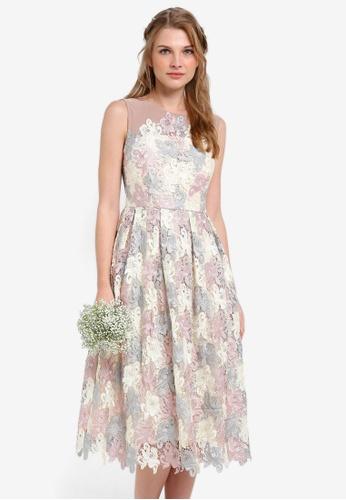 ZALORA multi Bridesmaid Multi Coloured Midi Lace Dress 4083FAA1D4C244GS_1