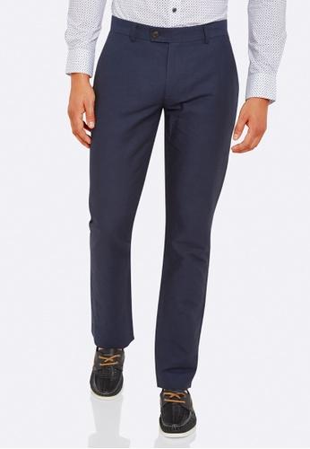Oxford navy Slim Leg Cotton Linen Trousers OX512AA0HB2NSG_1