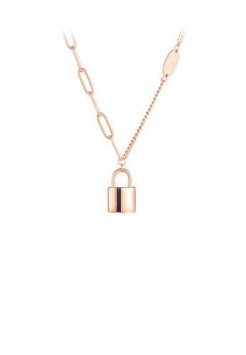 Glamorousky silver Simple and Fashion Plated Rose Gold Lock 316L Stainless Steel Pendant with Necklace 3E91DAC4D39B4CGS_1