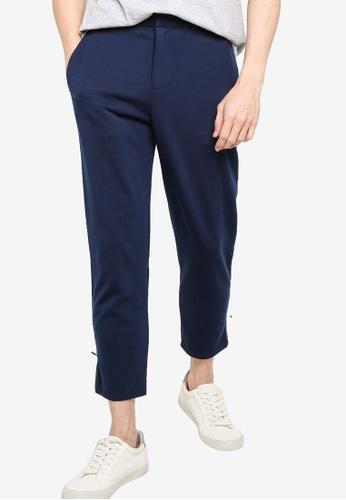 ZALORA BASICS navy Zipped Hem Detailed Trousers 17973AAE23FCE9GS_1