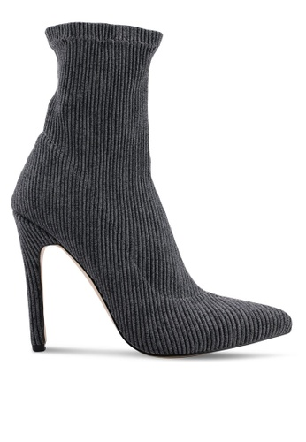 Public Desire grey Maxi Sock Fit Stretch Ankle Boots 43708SH12BAEF8GS_1