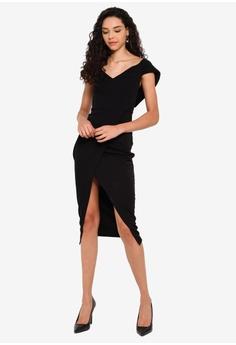 29dce96160f91 Boohoo Off The Shoulder Wrap Skirt Midi Dress RM 129.00. Sizes 6 8 10 12 14