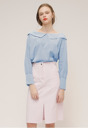 OUTSTANDING ORDINARY blue APRIL BLOUSE OU203AA93YJMSG_1
