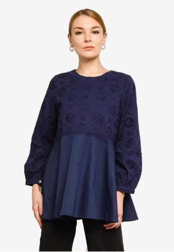 Gene Martino blue Lace Babydoll Muslimah Top 5C20CAA2373E13GS_1