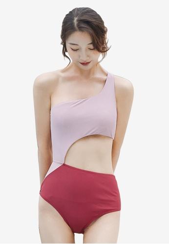 ZITIQUE pink Women's Sexy One Shoulder One-piece Swimsuit - Pink 37120USDDCBE84GS_1