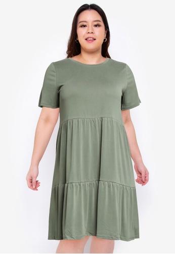 Vero Moda green Plus Size Filli Calia Short Dress 82CB4AA0E41357GS_1